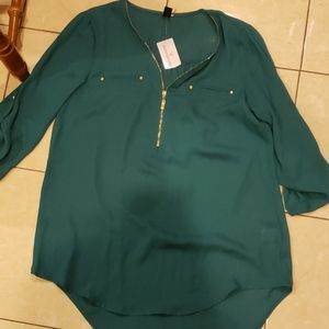 Windsor real green work zip up blouse
